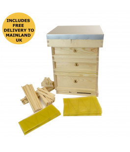 british national assembled wooden hive with frames foundation